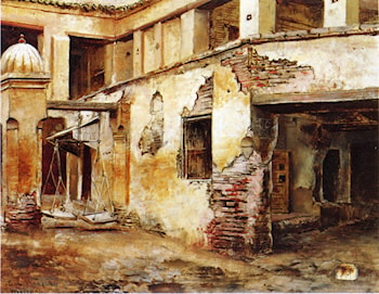 Courtyard in Morocco by Edwin Lord Weeks