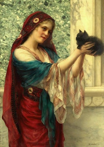 Woman with Cat by William Clarke Wontner