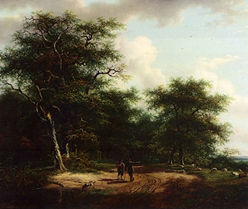 Two Figures In A Summer Landscape by Andreas Schelfhout