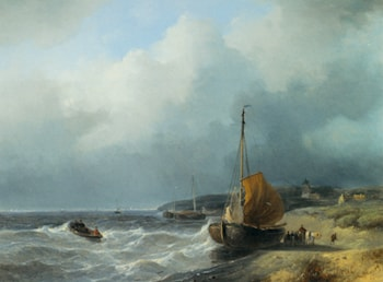 Fisherfolk by a Beached Bomschuit by Andreas Schelfhout