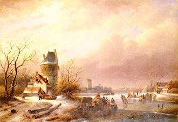 Skaters On A Frozen River by Andreas Schelfhout