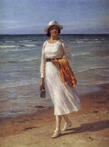 A lady walking on a beach by Niels Frederick Schiott-Jensen