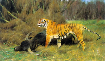 A Tiger with its Prey by Wilhelm Kuhnert