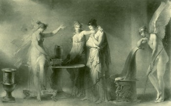 Psyche and Her Two Sisters by Jean-Honore Fragonard