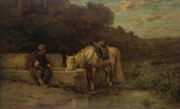 A Rest by the Fountain by Adolf Schreyer