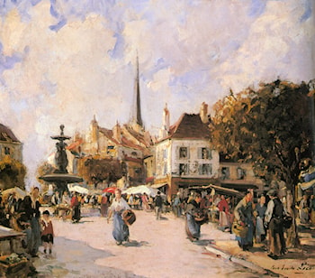 A French Market Scene by Paul Emile Lecompte