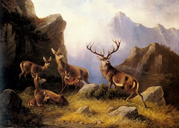 Deer in a Mountainous Landscape by Moritz Muller