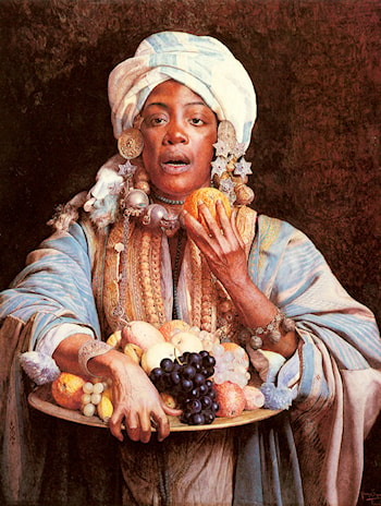 A North African Fruit Vendor by Guiseppe Signorini