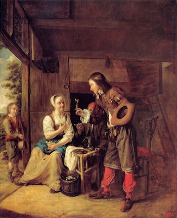 A Man Offering a Glass of Wine to a Woman by Pieter de Hooch