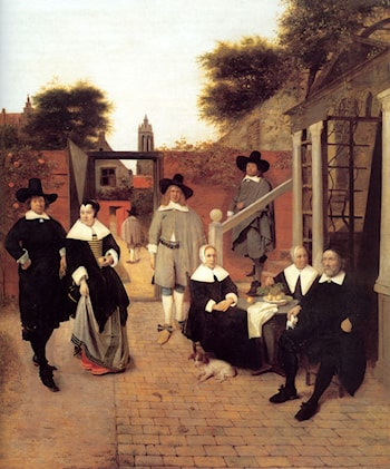 Portrait of a Family in a Courtyard in Delft by Pieter de Hooch