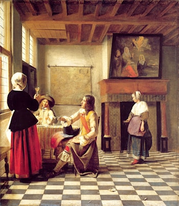 A Woman Drinking with Two Men and a Serving Woman by Pieter de Hooch
