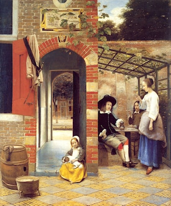 Figures Drinking in a Courtyard by Pieter de Hooch