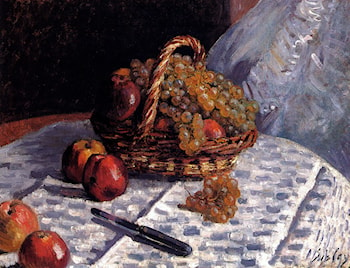 Still Life: Apples And Grapes by Alfred Sisley