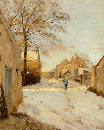 A Village Street in Winter by Alfred Sisley