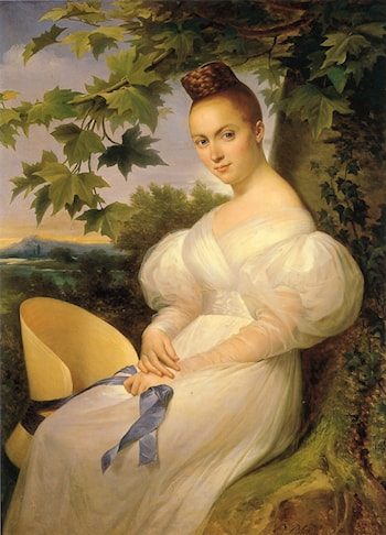 Portrait of a Woman seated beneath a Tree by Merry Joseph Blondel