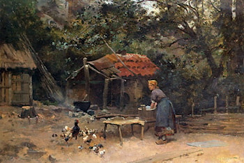 The Chicken Run by Emile Charles Dameron