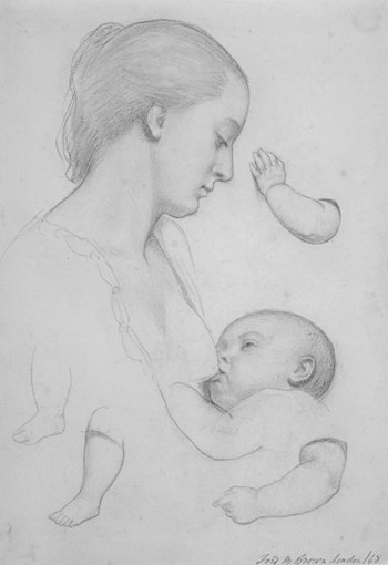 The Young Mother: sheet of studies by Ford Madox Brown