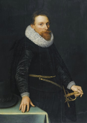 Portrait of a Gentleman, three-quarter length, standing, wearing a black tunic and white ruff by Michiel Jansz. van Miereveld