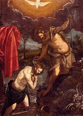 The Baptism Of Christ by Domenico Tintoretto