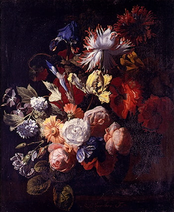 Still Life Of Irises, Poppies, Roses, Tulips, Peonies, Snowballs And Other Flowers In A Vase On A Stone Ledge by Simon Pietersz Verelst