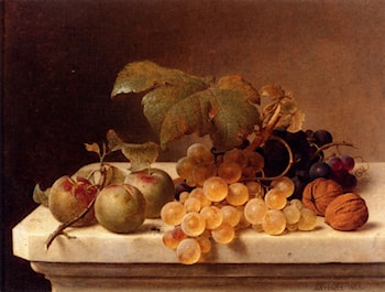 Still Life With Lady Apples, Grapes, And Walnuts by Johann Wilhelm Preyer