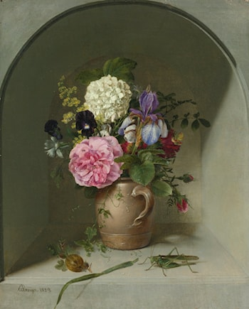 Flowers in a Clay Jug on a Neche with Grasshopper by Johann Wilhelm Preyer
