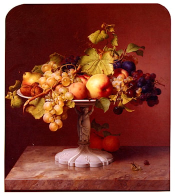 A Still Life With A Bowl Of Fruit On A Marble Table by Johann Wilhelm Preyer