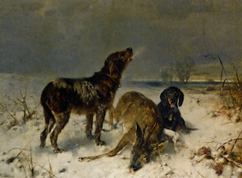Two Hunting Dogs with Their Catch by Friedrich Otto Gebler