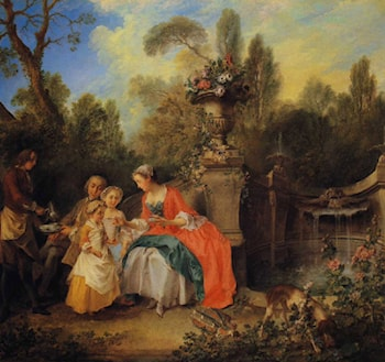 A Lady and Gentleman Taking Coffee with Children in a Garden by Nicolas Lancret