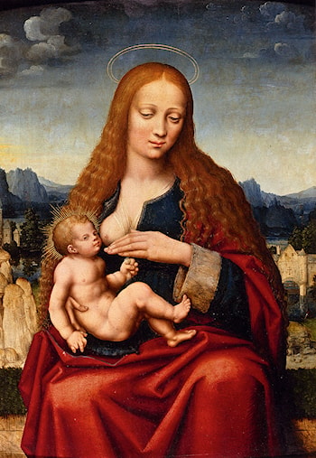 Madonna And Child In A Landscape by Marco D'Oggiono