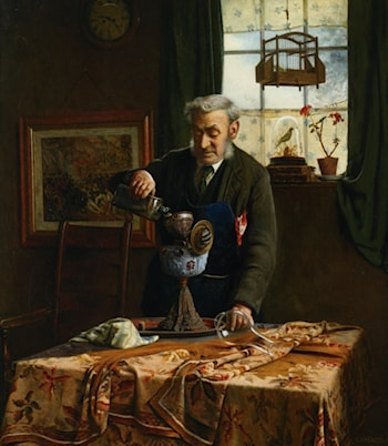 Filling the Lamp Oil by Charles Spencelayh