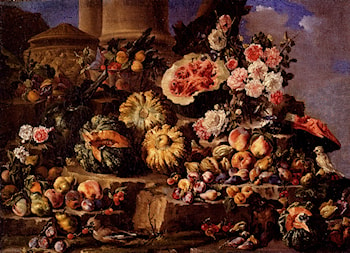 Still Life Of Fruit And Flowers On A Stone Ledge With Birds And A Monkey by Michele Pace Del Campidoglio