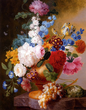 Still Life Of Tulips, Roses, Peonies, Narcissus, And Other Flowers In A Urn by Pieter Faes