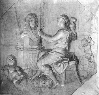 Allegory: Sculpture Working on the King's Bust by Charles Le Brun