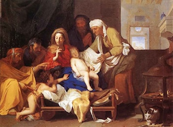 Holy Family with the Adoration of the Child by Charles Le Brun
