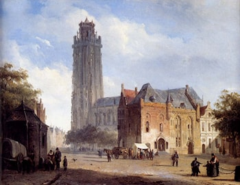A Cathedral On A Townsquare In Summer by Cornelis Springer