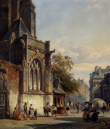 Town Square Before A Church: A Capriccio by Cornelis Springer