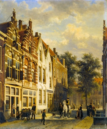 Figures in the Sunlit Streets of a Dutch Town by Cornelis Springer