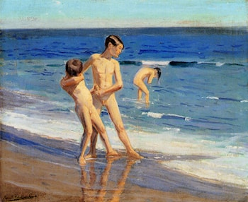 Boys At The Beach by Benito Rebolledo Correa