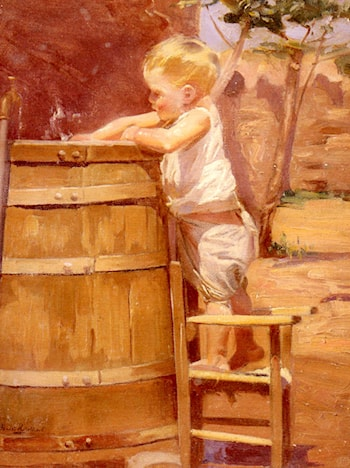 A Boy At A Water Barrel by Benito Rebolledo Correa