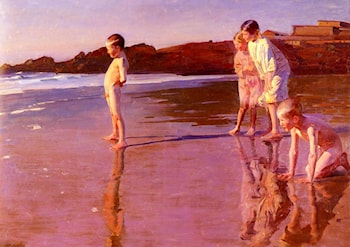 Children On The Beach At Sunset, Valencia by Benito Rebolledo Correa