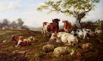 Resting Cattle, Sheep And Deer, A Farm Beyond by Charles Jones