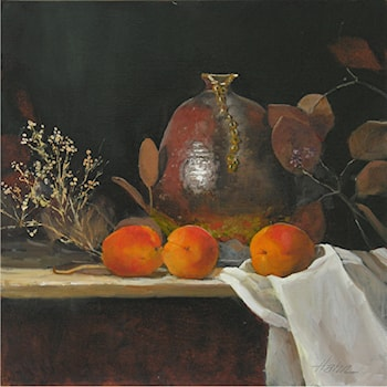 Apricots and Brown Vase by Elaine Hahn