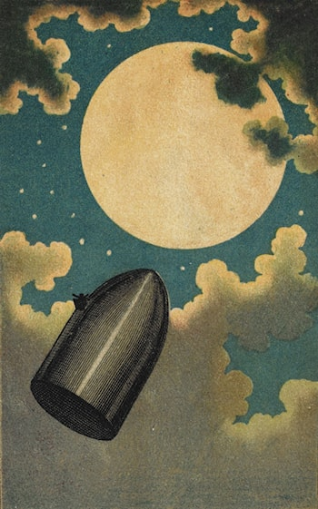 "The Projectile Passing the Moon from ""From the Earth to the Moon"" by Jules Verne by Emile-Antoine Bayard"