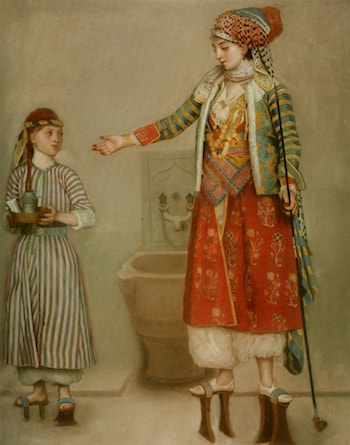 A Lady in Turkish Costume with her Servant at the Hammam by Jean-Etienne Liotard
