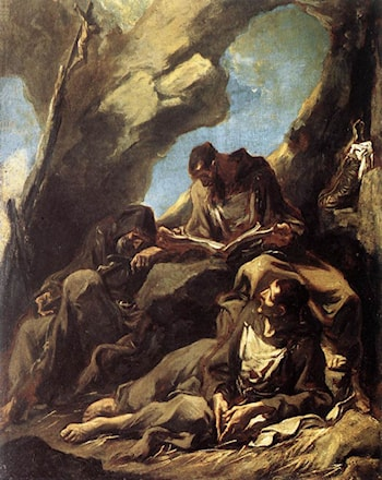 Three Capuchin Friars Meditating in their Hermitage by Alessandro Magnasco