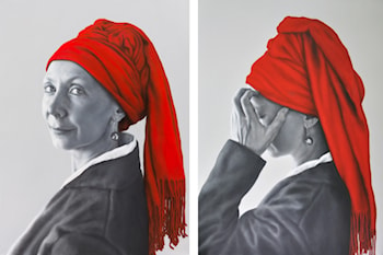 Behind the Smile (Diptych) by Arina Gordienko
