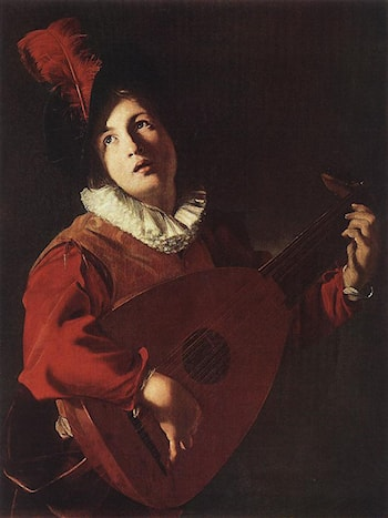 Lute Playing Young by Bartolomeo Manfredi