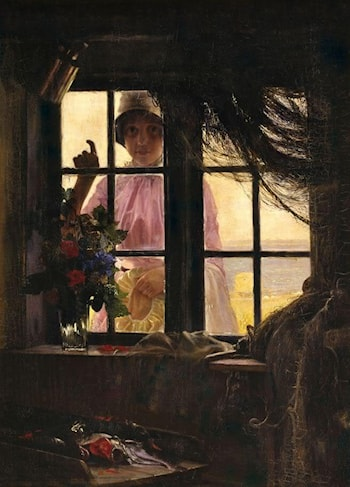 A Young Woman Knocking at the Fisherman's Window by Carl Heinrich Bloch