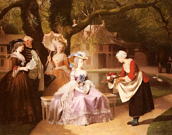 Marie Antoinette and Louis XVI in the Garden of the Tuileries with Madame Lambale by Joseph Caraud